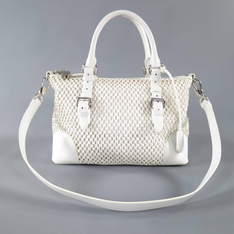 GIORGIO ARMANI White Crochet Leather Belt Handle Purse Handbag image 6