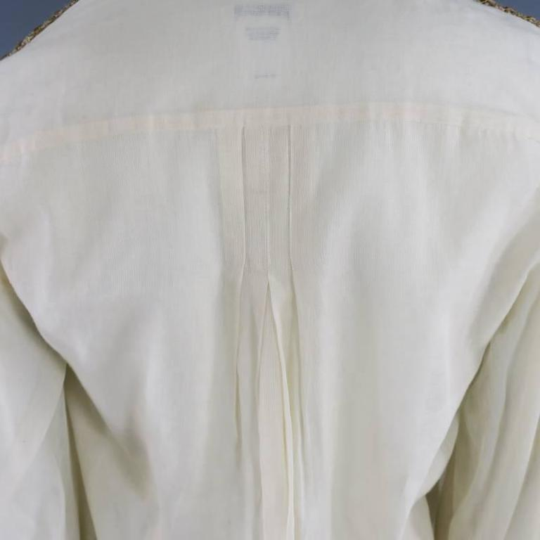 OSCAR DE LA RENTA 8 Beige Linen Sequin Shoulder Bishop Sleeve Wrap Blouse For Sale 3