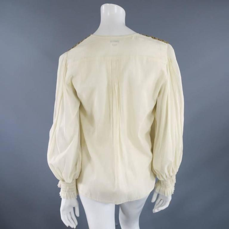 OSCAR DE LA RENTA 8 Beige Linen Sequin Shoulder Bishop Sleeve Wrap Blouse For Sale 4