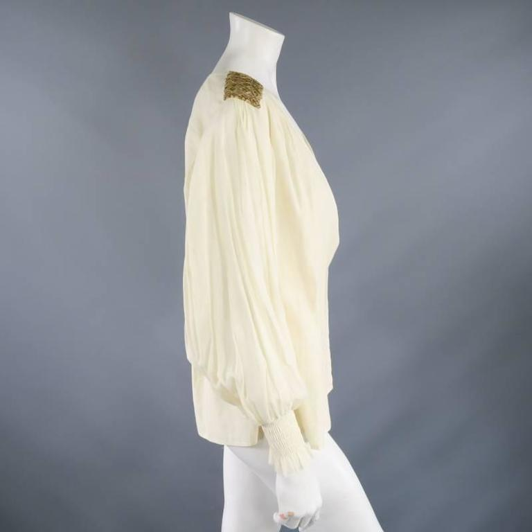 OSCAR DE LA RENTA 8 Beige Linen Sequin Shoulder Bishop Sleeve Wrap Blouse For Sale 1
