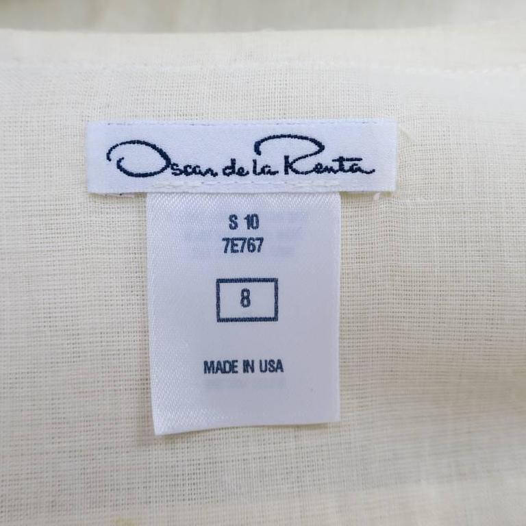 OSCAR DE LA RENTA 8 Beige Linen Sequin Shoulder Bishop Sleeve Wrap Blouse For Sale 5