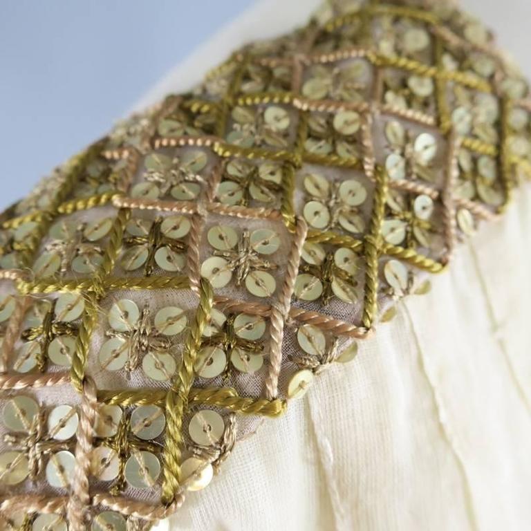 Women's OSCAR DE LA RENTA 8 Beige Linen Sequin Shoulder Bishop Sleeve Wrap Blouse For Sale