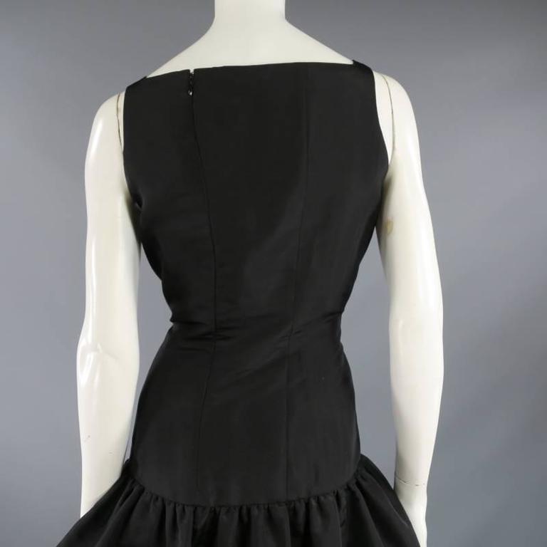 OSCAR DE LA RENTA 8 Black Silk Drop Waist Layered Ruffle Vintage Cocktail Dress For Sale 2