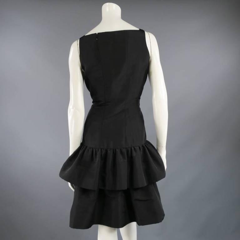 OSCAR DE LA RENTA 8 Black Silk Drop Waist Layered Ruffle Vintage Cocktail Dress For Sale 1