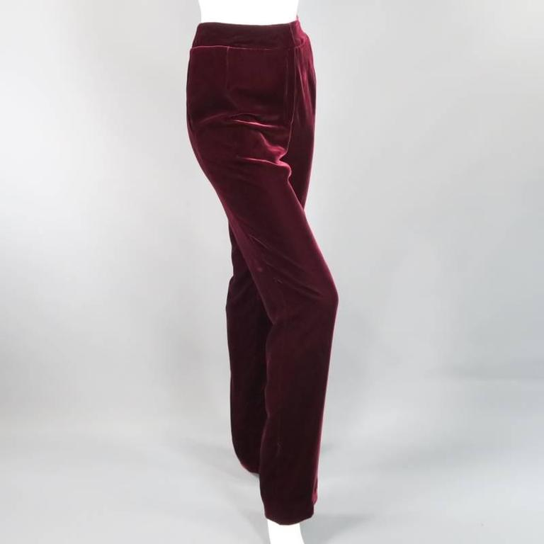 OSCAR DE LA RENTA Size 6 Burgundy Velvet High Rise Dress Pants 4