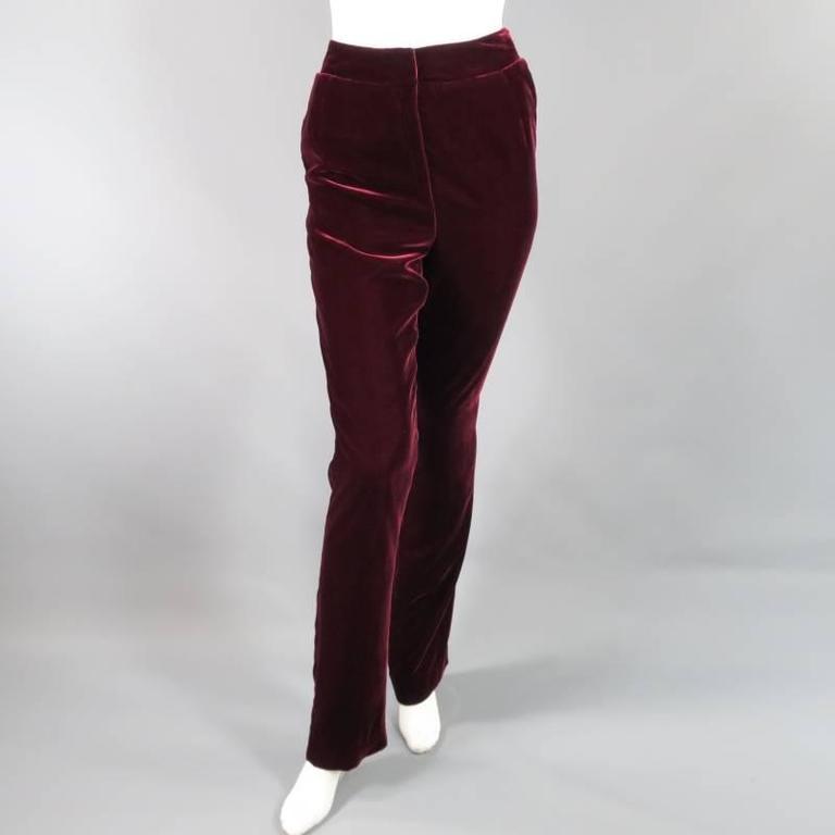 Black OSCAR DE LA RENTA Size 6 Burgundy Velvet High Rise Dress Pants For Sale
