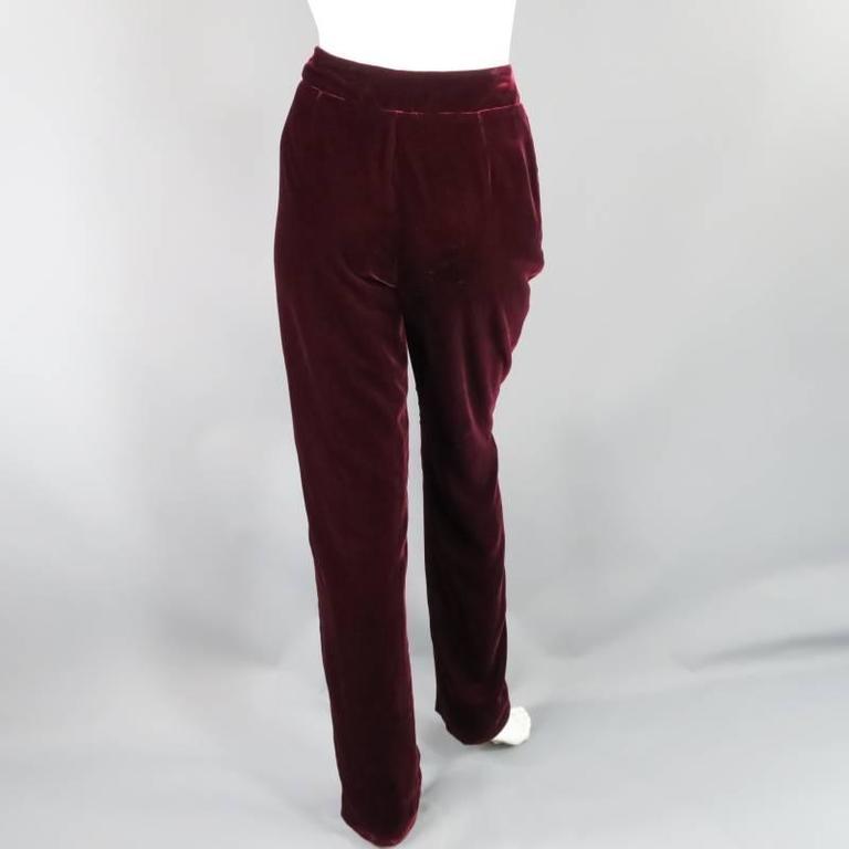Women's OSCAR DE LA RENTA Size 6 Burgundy Velvet High Rise Dress Pants For Sale