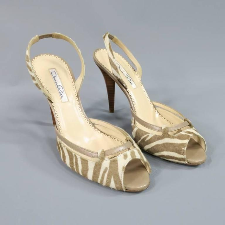OSCAR DE LA RENTA 8.5 Off White & Taupe Zebra Tiger Pony Hair Sling Back Pumps In Excellent Condition For Sale In San Francisco, CA