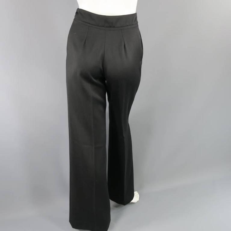 OSCAR DE LA RENTA Size 2 Black Wool High Rise Wide Leg Ribbon Waist Dress Pants 8