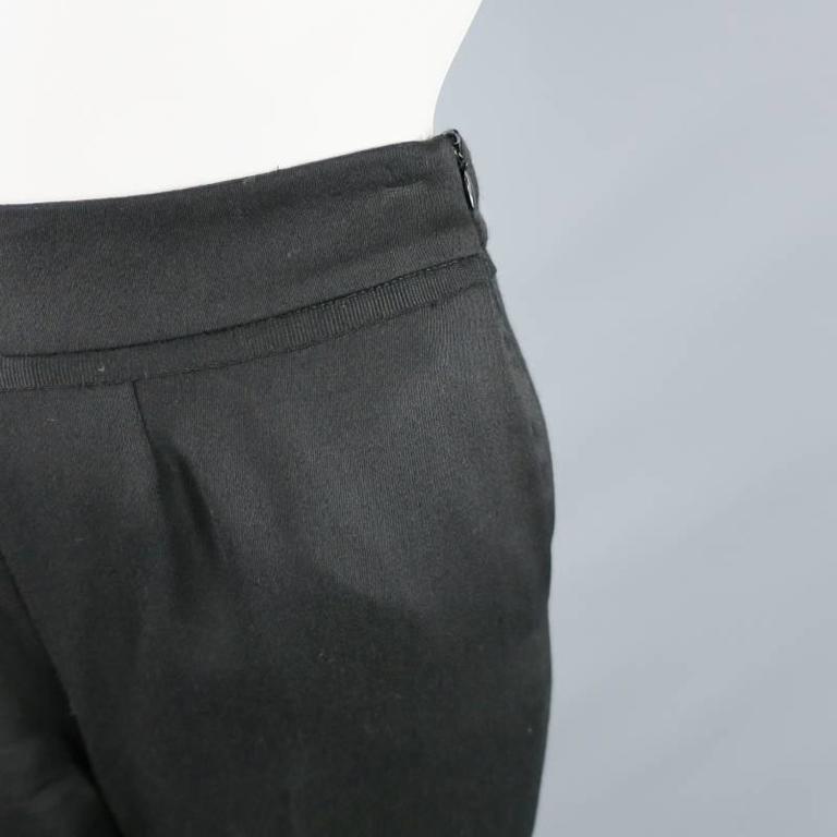 OSCAR DE LA RENTA Size 2 Black Wool High Rise Wide Leg Ribbon Waist Dress Pants 6