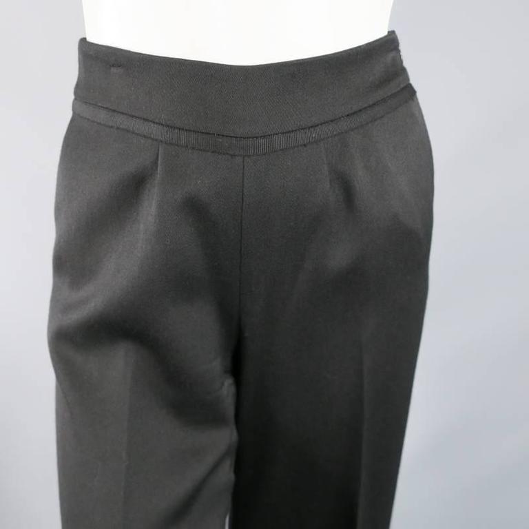 OSCAR DE LA RENTA Size 2 Black Wool High Rise Wide Leg Ribbon Waist Dress Pants 4