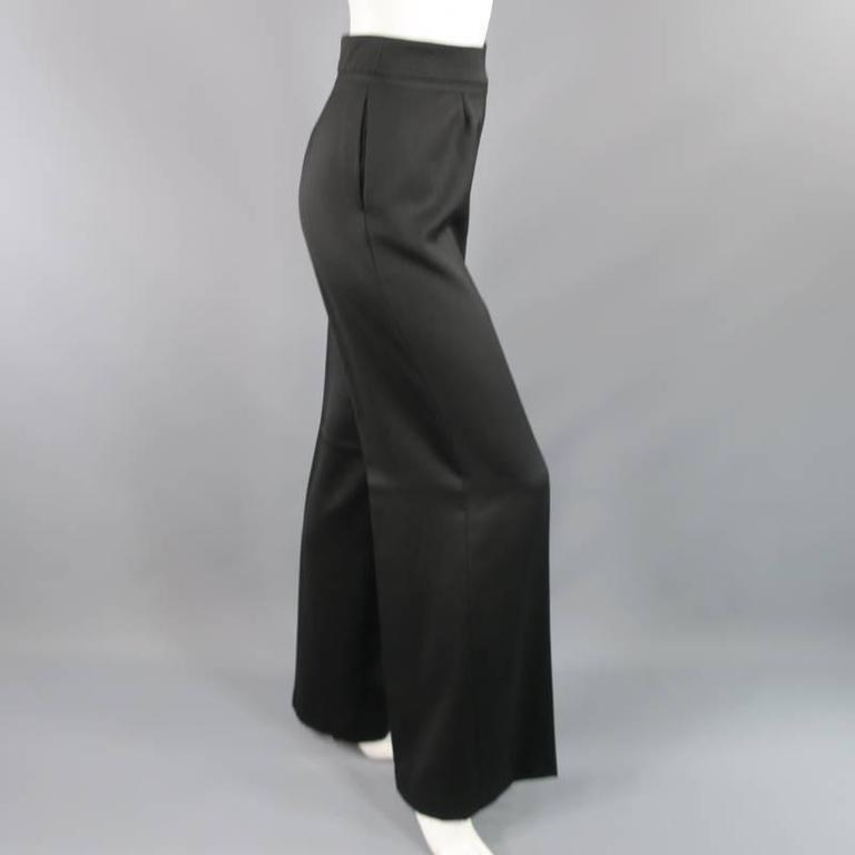 OSCAR DE LA RENTA Size 2 Black Wool High Rise Wide Leg Ribbon Waist Dress Pants 7