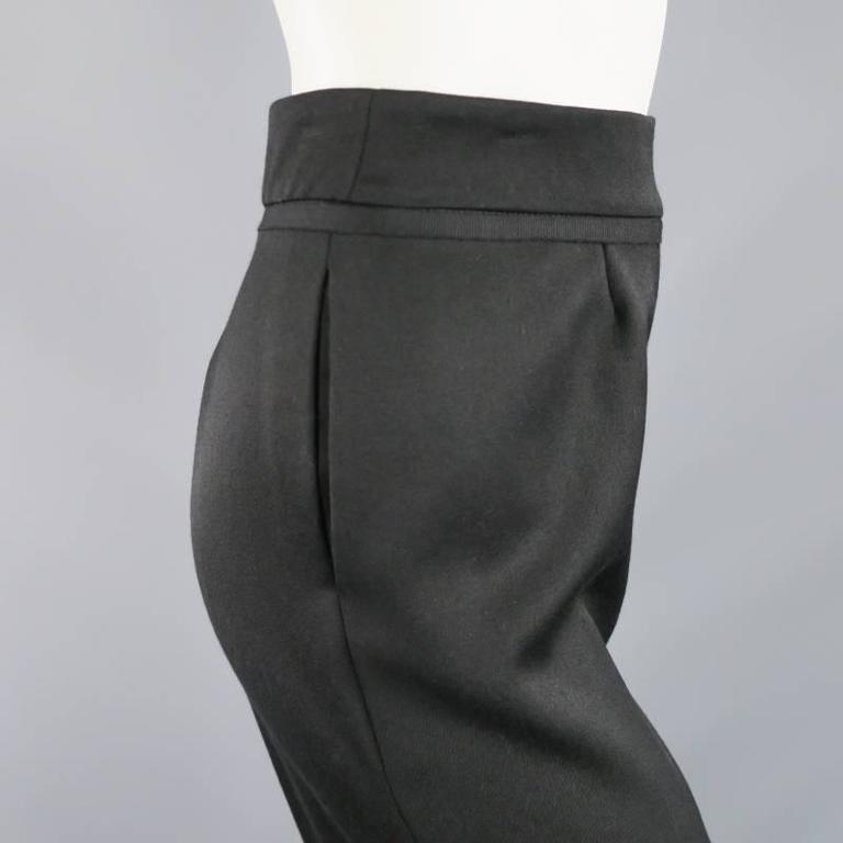 OSCAR DE LA RENTA Size 2 Black Wool High Rise Wide Leg Ribbon Waist Dress Pants 5