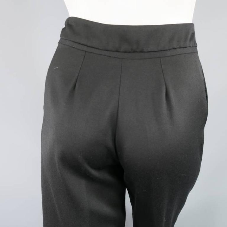 OSCAR DE LA RENTA Size 2 Black Wool High Rise Wide Leg Ribbon Waist Dress Pants 9
