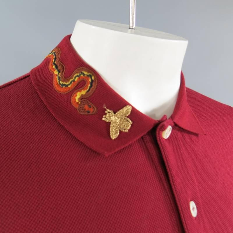 Gucci Size S Burgundy Red Snake Appique Collar Polo At 1stdibs