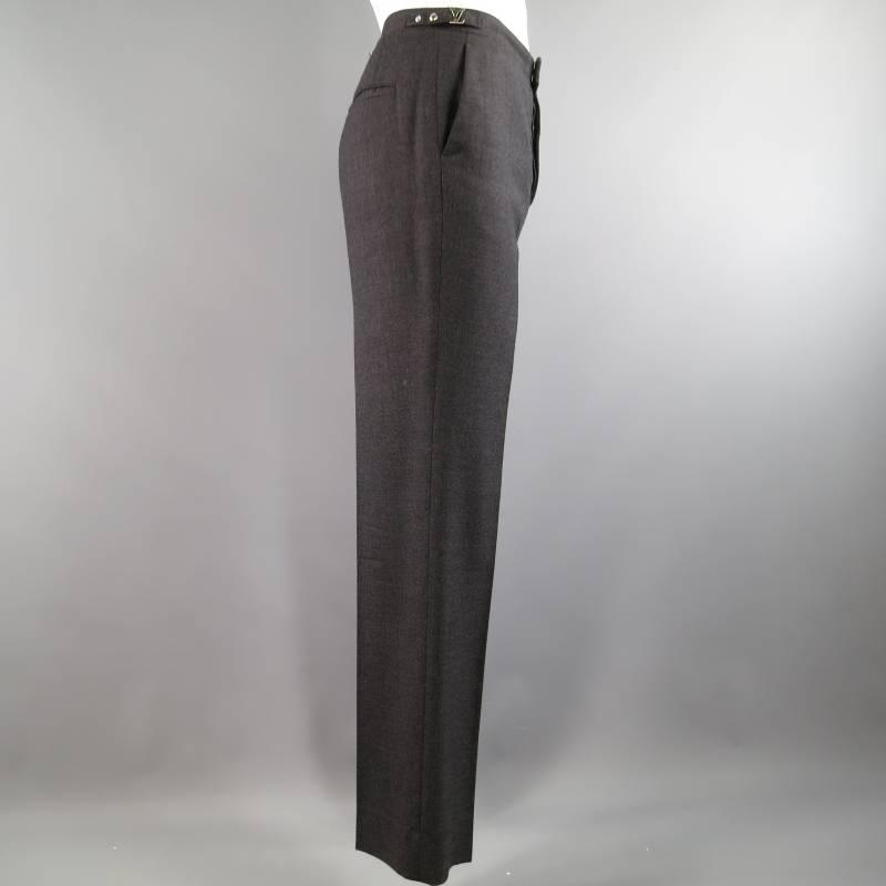 Louis Vuitton Size 34 Charcoal Wool Dress Pants Lv Side
