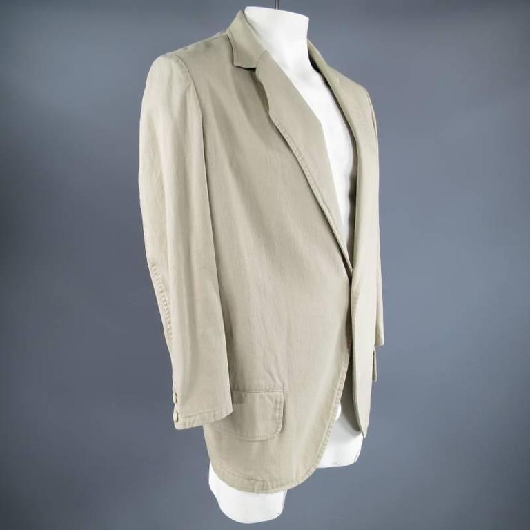 Yohji Yamamoto Y's Men's Khaki Cotton Sport Coat  In Excellent Condition For Sale In San Francisco, CA