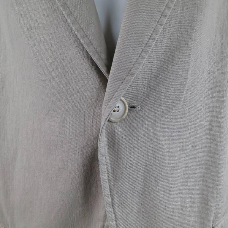 Gray Yohji Yamamoto Y's Men's Khaki Cotton Sport Coat  For Sale