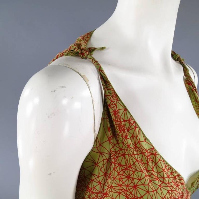 Jean Paul Gaultier Green and Red Geometric Print Rayon Maxi Dress In Excellent Condition For Sale In San Francisco, CA
