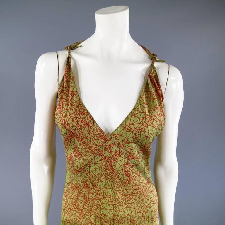 JEAN PAUL GAULTIER Size 6 Green & Red Geometric Print Rayon Maxi Dress 2
