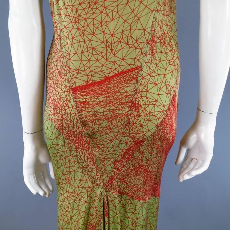 JEAN PAUL GAULTIER Size 6 Green & Red Geometric Print Rayon Maxi Dress 7