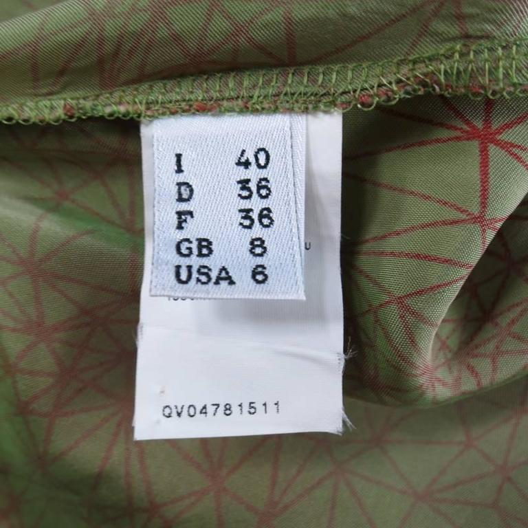JEAN PAUL GAULTIER Size 6 Green & Red Geometric Print Rayon Maxi Dress 9