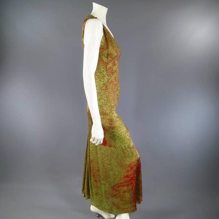 Brown Jean Paul Gaultier Green and Red Geometric Print Rayon Maxi Dress For Sale