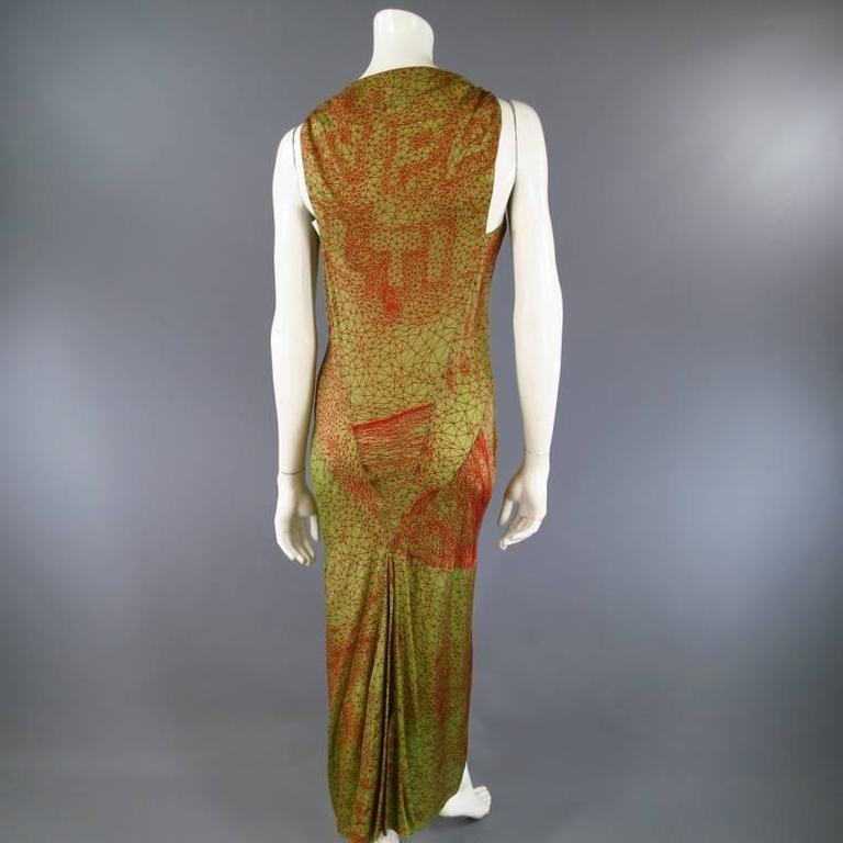 Women's Jean Paul Gaultier Green and Red Geometric Print Rayon Maxi Dress For Sale