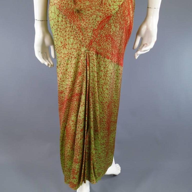 Jean Paul Gaultier Green and Red Geometric Print Rayon Maxi Dress For Sale 3
