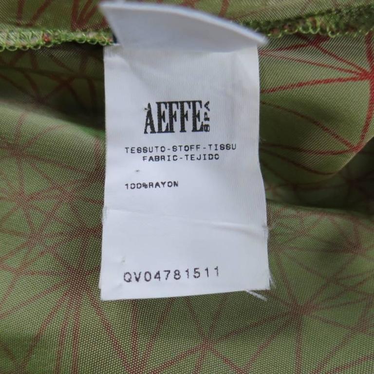 JEAN PAUL GAULTIER Size 6 Green & Red Geometric Print Rayon Maxi Dress 10