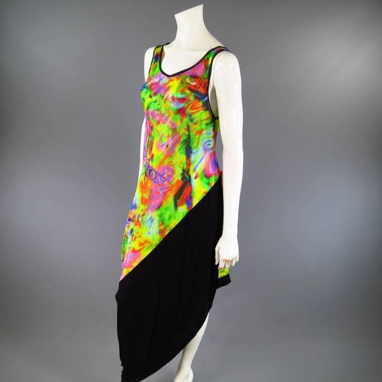 YOHJI YAMAMOTO Size M Psychedelic Glitch Damnation Print Draped Maxi Dress 2011 4