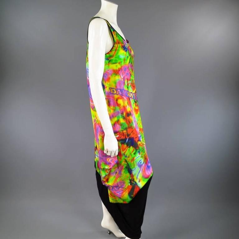 Women's YOHJI YAMAMOTO Psychedelic Glitch Damnation Print Draped Maxi Dress - Medium For Sale