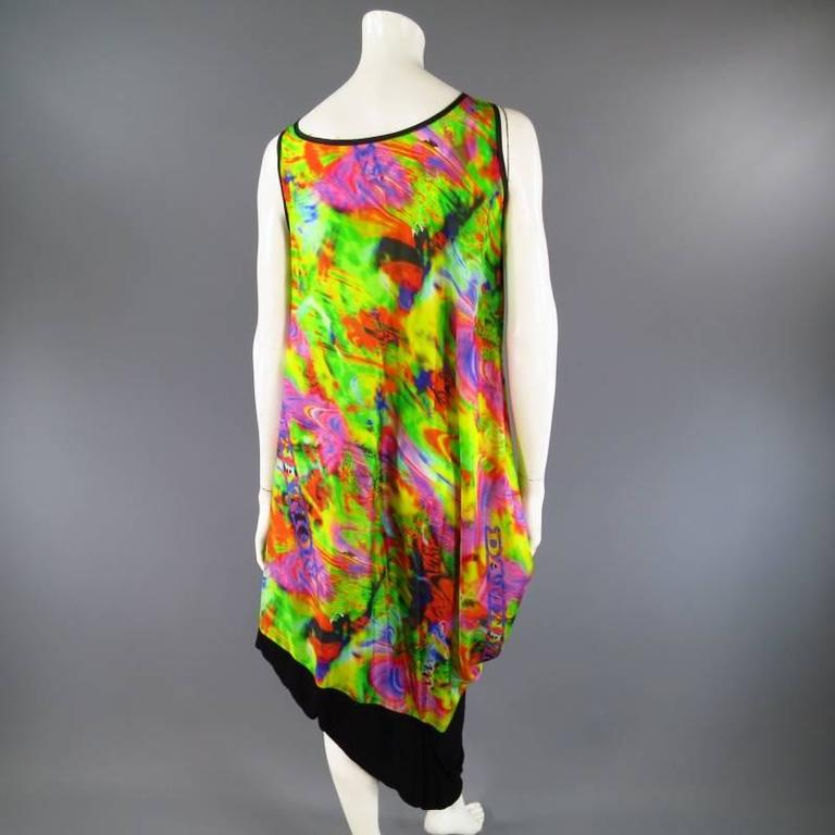 YOHJI YAMAMOTO Psychedelic Glitch Damnation Print Draped Maxi Dress - Medium For Sale 1