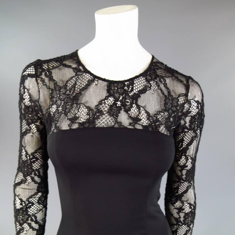 Versace Size 6 Black Long Sleeve Lace Camisole Cocktail