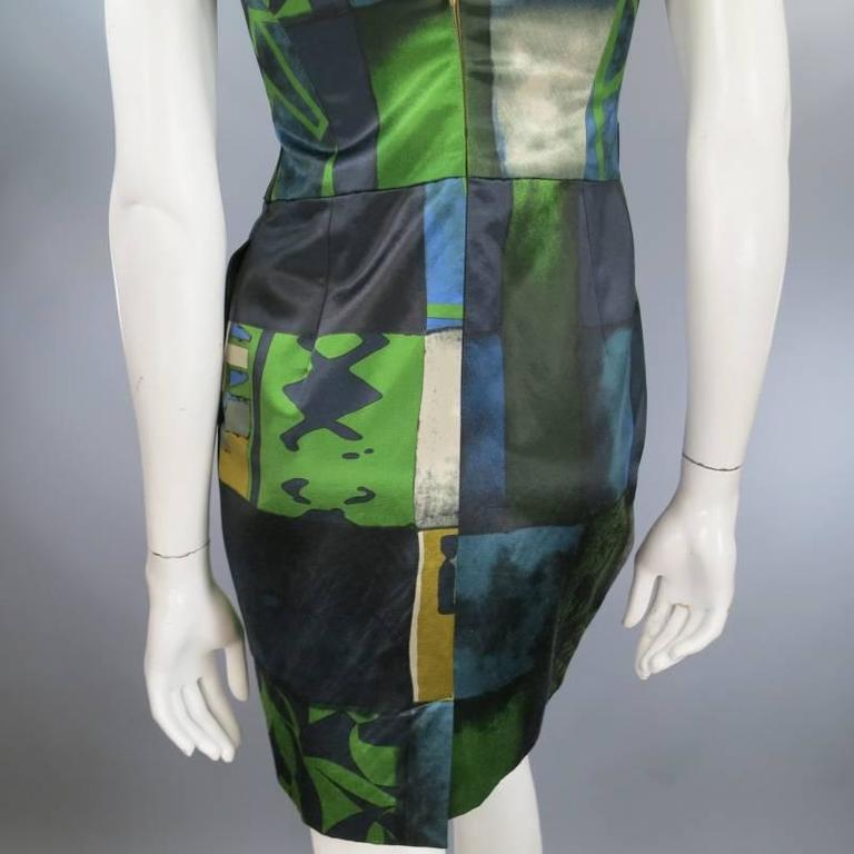 ETRO Size 2 Green Printed Satin SLeeveless Embellished Belt Cocktail Dress For Sale 1