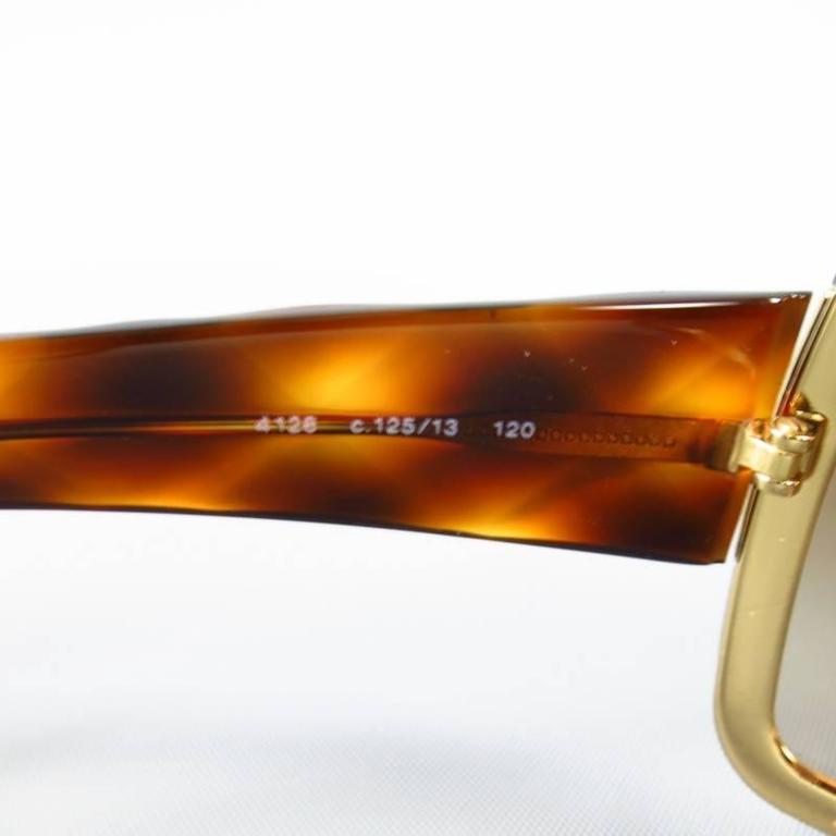 c8ac036116 CHANEL Brown and Gold Quited Tourtoise Sunglasses at 1stdibs