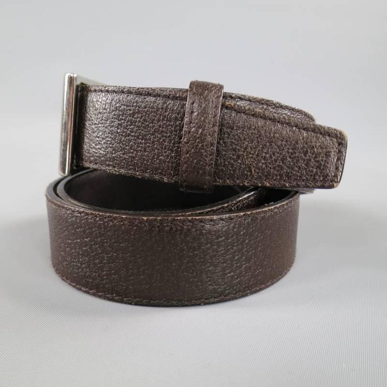 prada chocolate brown textured leather silver rectangular