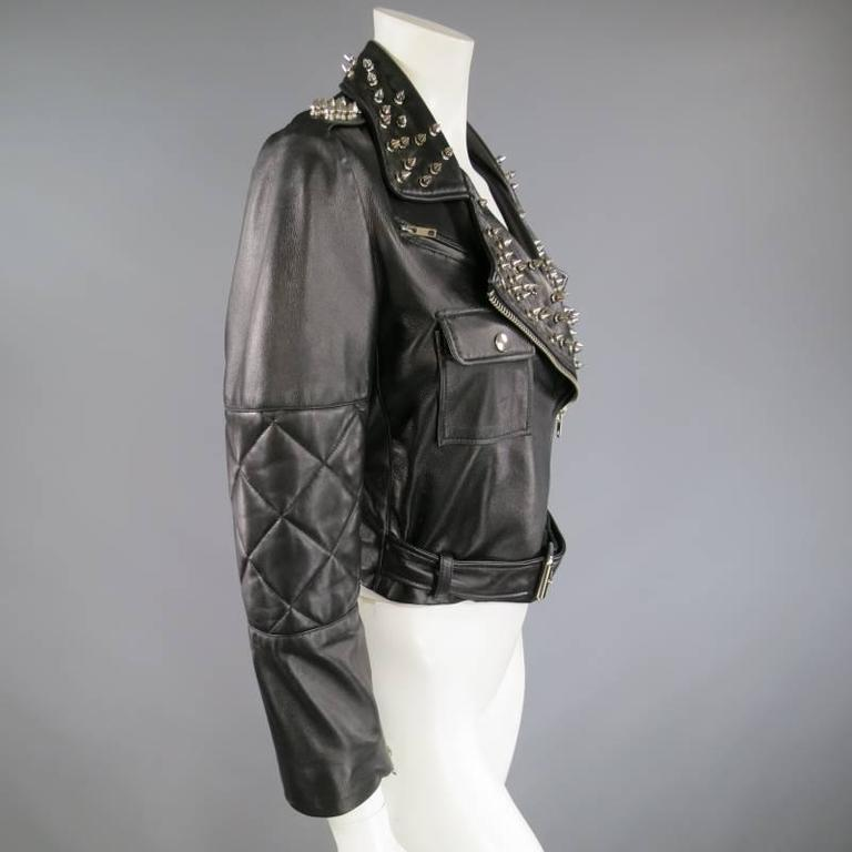 KATIE NEHRA Size L Black Spiked Leather Biker Moto Jacket 6