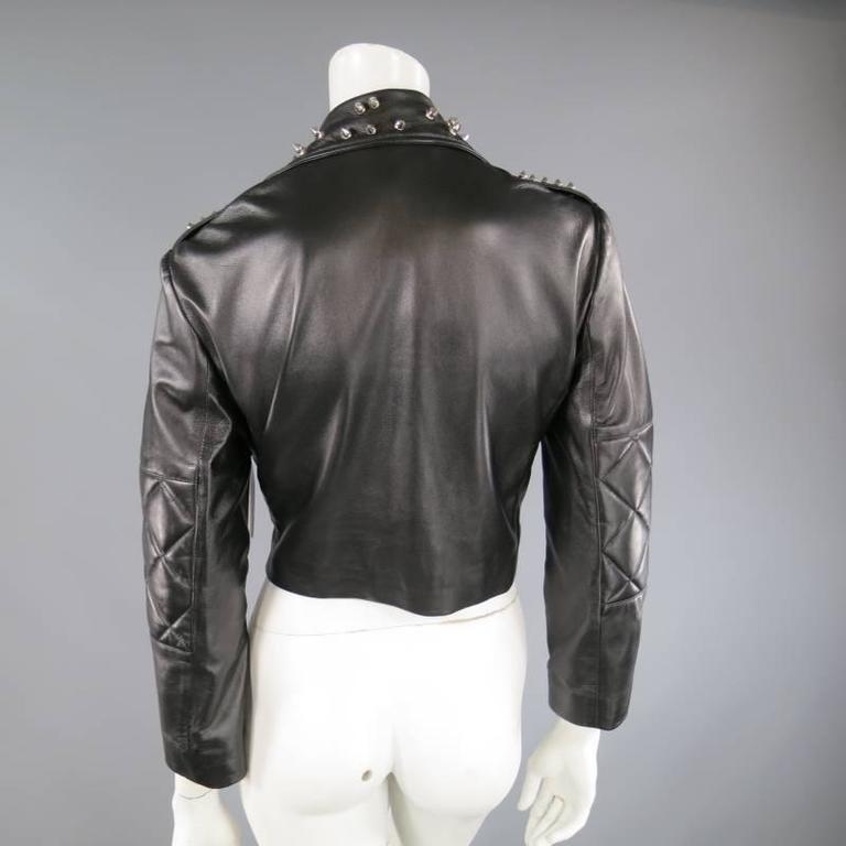 KATIE NEHRA Size L Black Spiked Leather Biker Moto Jacket 8