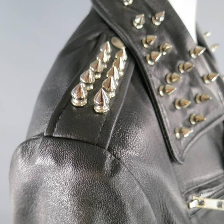 KATIE NEHRA Size L Black Spiked Leather Biker Moto Jacket 7