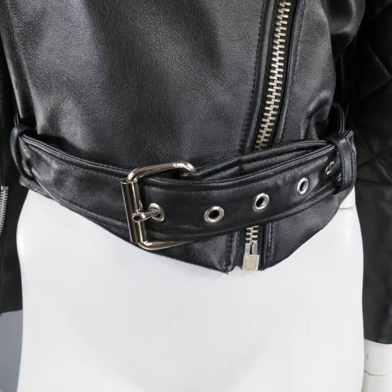 KATIE NEHRA Size L Black Spiked Leather Biker Moto Jacket 5