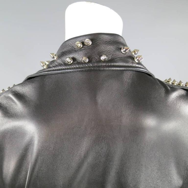 KATIE NEHRA Size L Black Spiked Leather Biker Moto Jacket 9