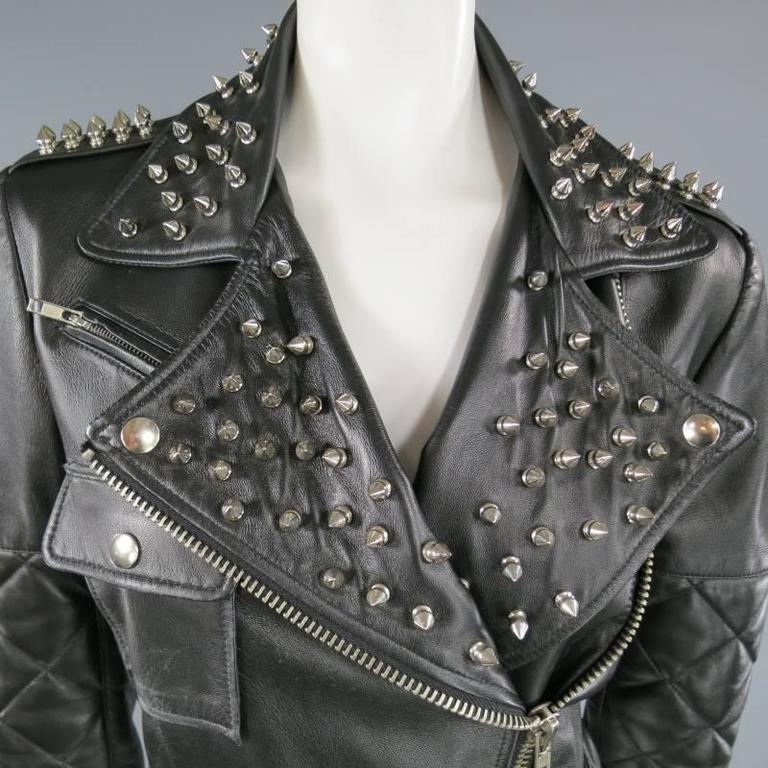 KATIE NEHRA Size L Black Spiked Leather Biker Moto Jacket 2