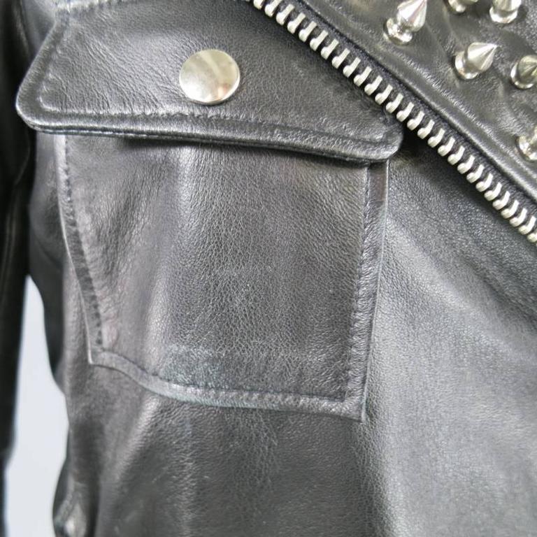 KATIE NEHRA Size L Black Spiked Leather Biker Moto Jacket 4