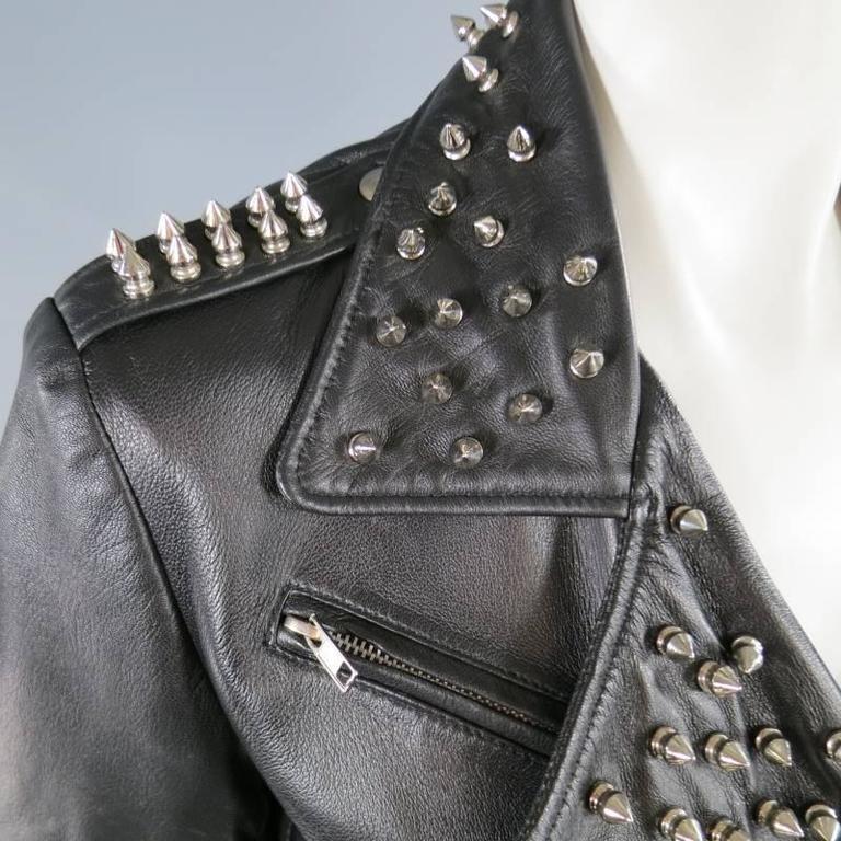 KATIE NEHRA Size L Black Spiked Leather Biker Moto Jacket 3
