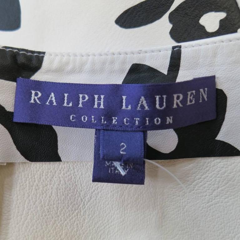 RALPH LAUREN Size 2 White Black FLoral Print Leather A line Skirt For Sale 2