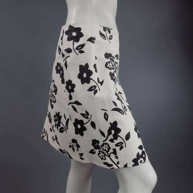 RALPH LAUREN Size 2 White Black FLoral Print Leather A line Skirt 5