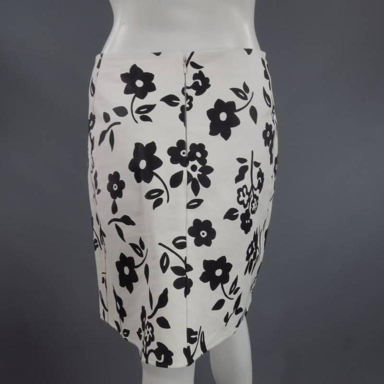 RALPH LAUREN Size 2 White Black FLoral Print Leather A line Skirt For Sale 1