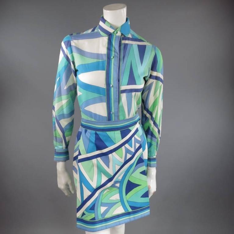 Vintage EMILIO PUCCI Size M Blue Navy & Teal Print Sheer Cotton Blouse 2