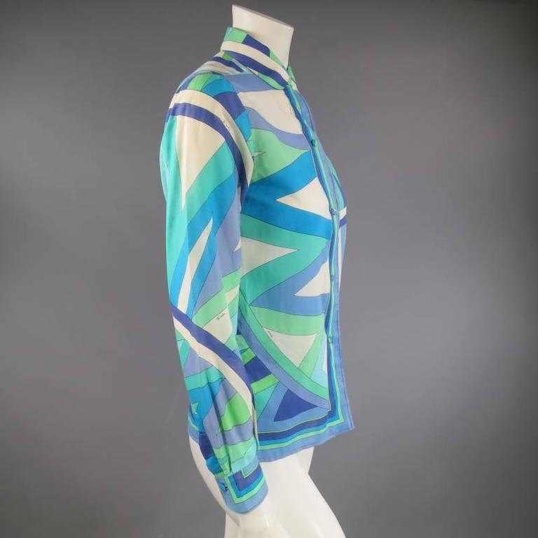 Vintage EMILIO PUCCI Size M Blue Navy & Teal Print Sheer Cotton Blouse 5